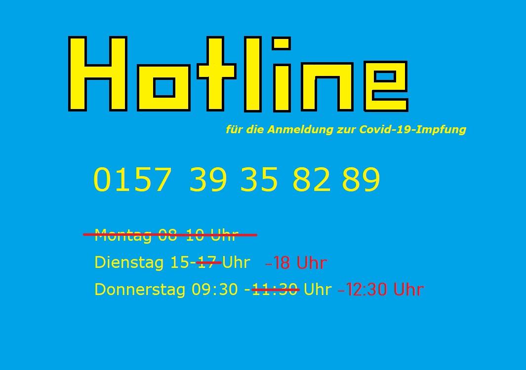 Hotline für die Anmeldung zur Covid-19 Impfung